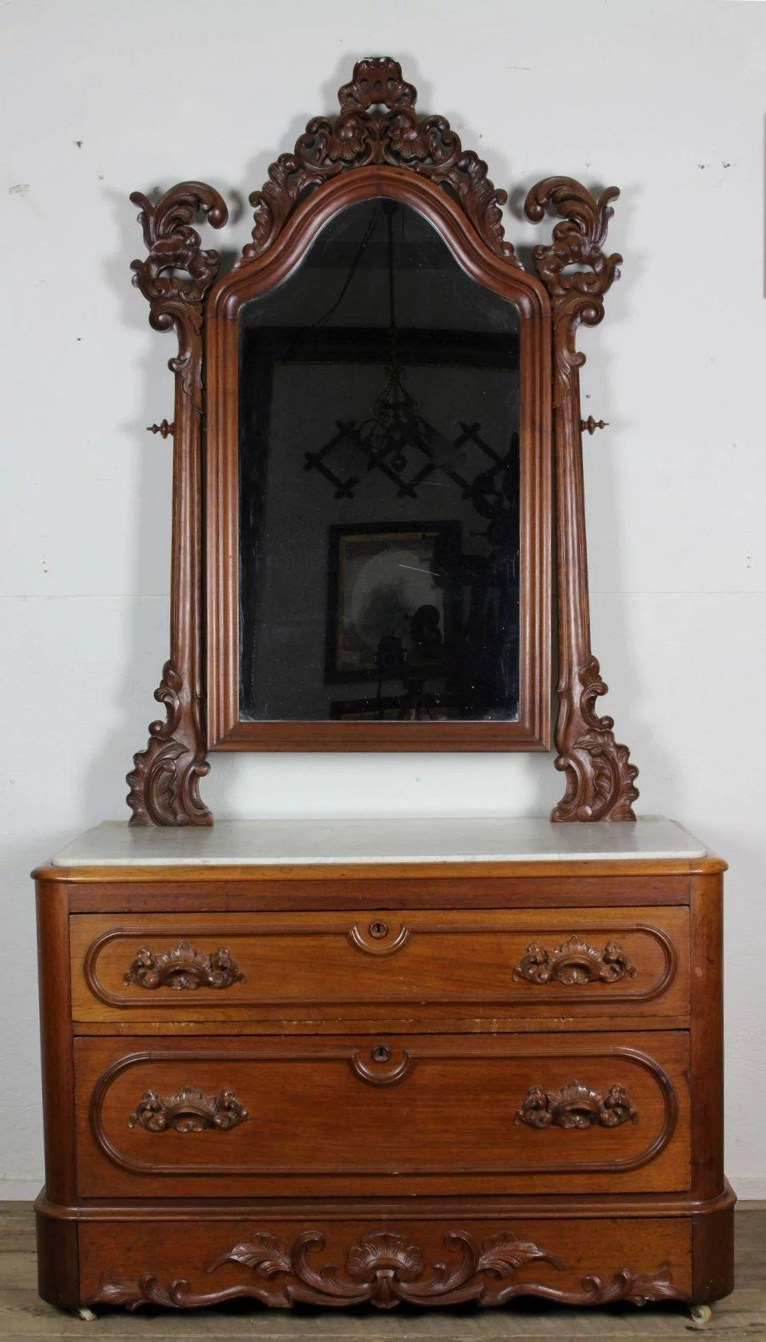 American Victorian Marble Top Dresser With Mirror C 1860