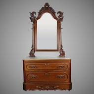 American Victorian Marble Top Dresser with Mirror c. 1860's
