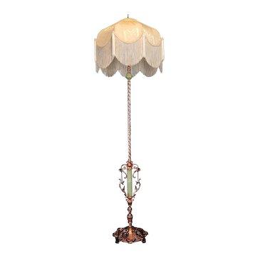Art Deco Copper/Onyx Floor Lamp w Fringed Shade   c. 1930