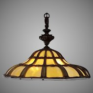 American Bent Slag Glass Chandelier Early 1900's