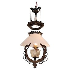 Pull down oil chandelier pat. 1875
