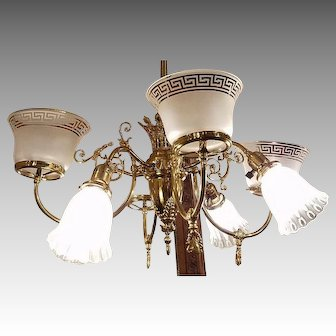 Victorian 1890s  Gas and Electric Chandelier