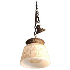 Gothic Pendant Light c 1920