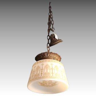 Gothic Pendant Light c 1920