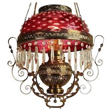 Antique Victorian Hanging Oil Lamp Cranberry Glass Hobnail Shade