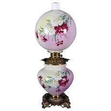 Gone with the Wind Oil Lamp c. 1890s Carnations