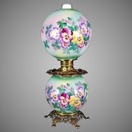 Gone with the Wind Oil Lamp c. 1890s Pansies