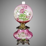 Gone with the Wind Oil Lamp c. 1890s Carnations2