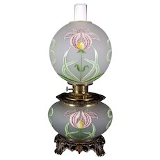 Gone with the Wind Oil Lamp c. 1890s  Orchid