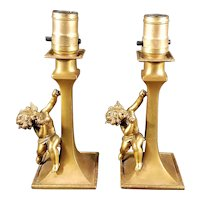 Pair of Cherub Boudoir Lamps c. 1920s