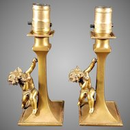Pair of Cherub Boudoir Lamps c. 1920s