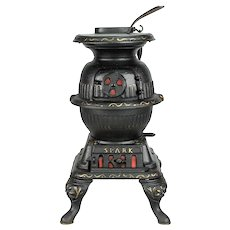 "Toy Cast Iron Pot Belly Stove "" SPARK "" c 1912"