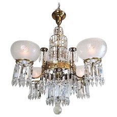 Antique Brass & Crystal Chandelier - American Victorian  c. 1890