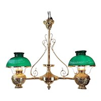 Brass Double Hanging Oil Lamp Chandelier  c.1900