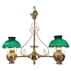 Brass Double Hanging Oil Lamp Chandelier  c.1900