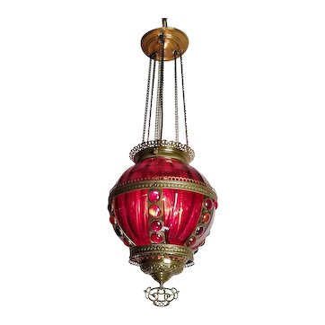 Brass Hanging Hall Lantern w Ruby Red Glass and Jewels - patent 1883