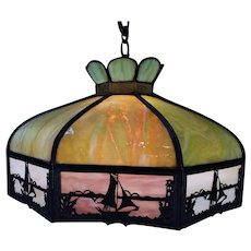 Hanging Metal Overlay Slag Glass Lamp   c.1920