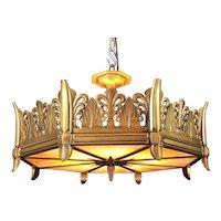 Art Deco Patinated Gilt Bronze Chandelier Ceiling Fixture