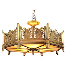 Art Deco Patinated Gilt Bronze Chandelier Ceiling Fixture