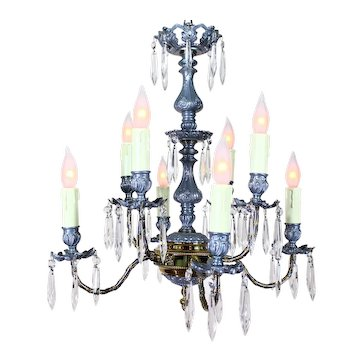Chandelier with Prisms and 8 Candles  c.1930
