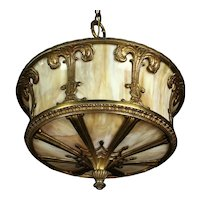 Bronze - Art Glass Chandelier    c. 1920