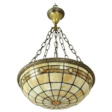 Stained Glass Inverted Bowl Pendant Light     c. 1920