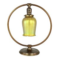 CHASE Circle Brass Table Lamp with Art Glass Shade     c. 1930's