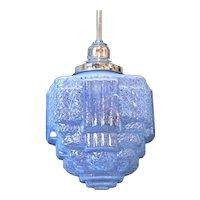 Art Deco Blue Ice Glass Pendant  c. 1930's