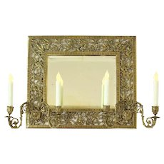 Victorian Brass Mirrored Candle Sconce    c. 1890