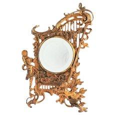 Victorian Brass Cherub Table Mirror   c. 1890