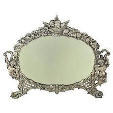 Nickel Plated Cast Iron Oval Dresser Mirror w Cherubs     c. 1900