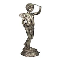 Silvered Bronze Putti with Lyre   c.1900