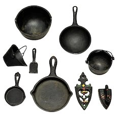 Doll or Toy Miniature Cast Iron Kitchenware  for Toy Stove  c. 1900's