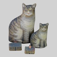 """Tiny Printed Cloth Cat (1.5"""" tall - perfect size for Hittys or smaller dolls)"""