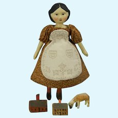 """Tiny 3.5"""" tall Greiner Style Doll by Gail Wilson"""