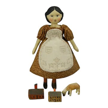 "Tiny 3.5"" tall Greiner Style Doll by Gail Wilson"