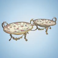 Pair Antique Sevres Style French Bronze Ormolu Footed Chinese Porcelain Famille Rose Bowl