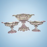 3 French Paris Porcelain Reticulated Puce Fruit Bowl Centerpiece Garniture Pierced Set