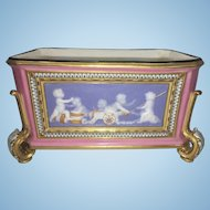 Antique French Paris Porcelain Footed Pink Planter Box Pate de Sur Cherubs