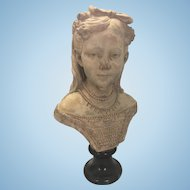 Victorian French Terra Cotta Bust Of Young Woman Girl Marble Base