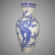 Large Antique Meiji Seto Japanese Blue & White Porcelain Vase Marked