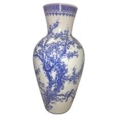Large Antique Meiji Seto Japanese Blue & White Porcelain Vase Marked