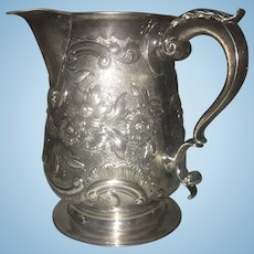 Georgian London Sterling Silver Repousse Pitcher Henry Chawner