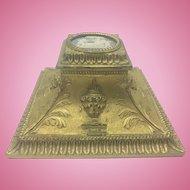 Dreyfous Bronze Dore Neoclassical Inkwell W Wedgwood Jasperware Medallion Top