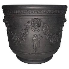 Antique Wedgwood Porcelain Basalt Jasperware Neoclassical Planter Urn