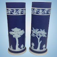 Pair Porcelain Wedgwood Cobalt Blue Jasperware Cylindrical Spill Vases English