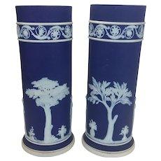 Pair Porcelain Wedgwood Cobalt Blue Jasperware Cylindrical Spill Vases English