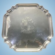 English Barker Ellis Silver Plate Cartouche Salver Tray Coat Of Arms Engraved