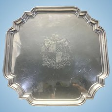 English Barker Ellis Silver Plate Cartouche Salver Tray Coat Of Arms Engraved