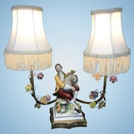 Old French Gilt Bronze Boudoir Lamp W German Porcelain Figural Bagpiper Flowers